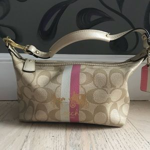 Small Beige and Pink Coach Purse